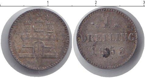 Картинка Монеты Гамбург 1 дрейлинг Серебро 1855