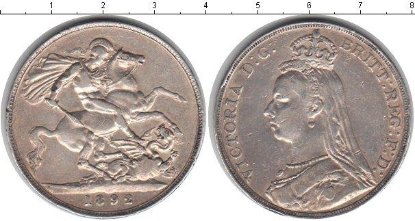 Картинка Монеты Великобритания 1 крона Серебро 1892