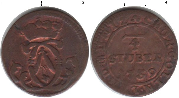 Картинка Монеты Кёльн 1/4 стюбера Медь 1759