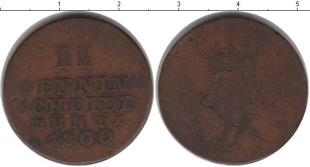 Картинка Монеты Ганновер 2 пфеннига Медь 1800