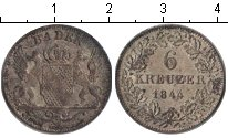 Изображение Монеты Баден 6 крейцеров 1844 Серебро VF