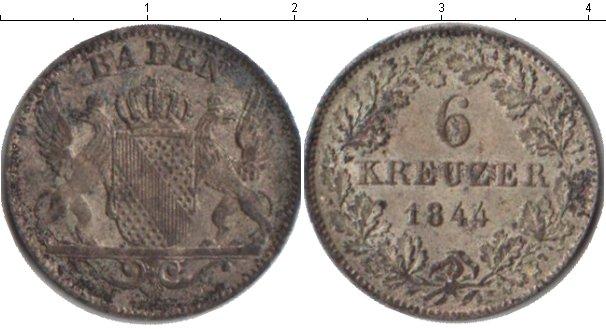 Картинка Монеты Баден 6 крейцеров Серебро 1844