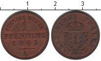 Изображение Монеты Пруссия 1 пфенниг 1865 Медь XF А