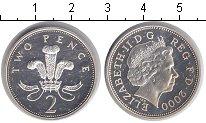 Изображение Монеты Великобритания 2 пенса 2000 Серебро Proof- Елизавета II