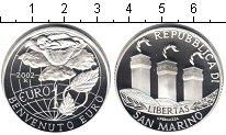 Изображение Монеты Сан-Марино 1 евро 2002 Серебро Proof- роза