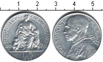 Изображение Монеты Ватикан 5 лир 1949 Алюминий XF Пий XII