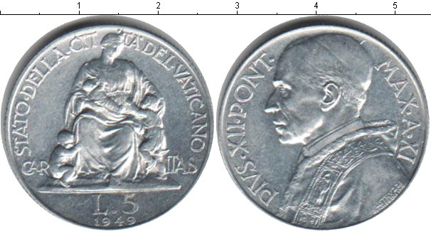 Картинка Монеты Ватикан 5 лир Алюминий 1949