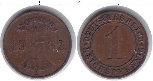 Картинка Мелочь Веймарская республика 1 пфенниг Медь 1932