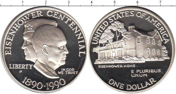 Картинка Мелочь США 1 доллар Серебро 1990