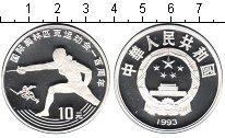 Изображение Монеты Китай 10 юаней 1993 Серебро Proof 100-летие Олимпийско