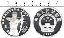 Изображение Монеты Китай 10 юаней 1994 Серебро Proof 100-летие Олимпийско