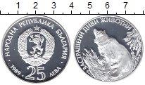 Изображение Мелочь Болгария 25 лев 1989 Серебро Proof Охрана природы