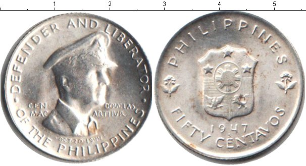 Картинка Монеты Филиппины 50 сентаво Серебро 1947