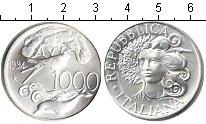 Изображение Монеты Италия 1000 лир 1994 Серебро UNC Защита флоры и фауны