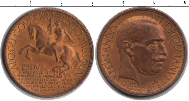 Картинка Монеты Италия 2 лиры  1928