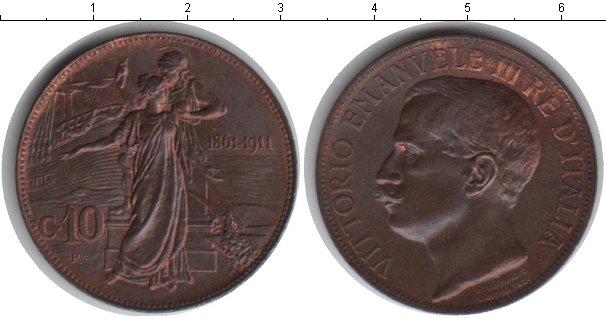 Картинка Монеты Италия 10 сентесим Медь 1911