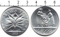 Изображение Монеты Италия 5000 лир 1999 Серебро UNC 1999