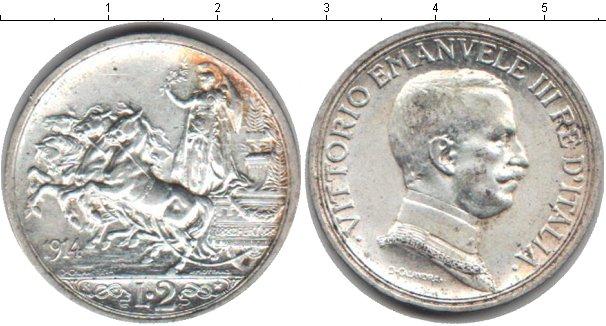 Картинка Монеты Италия 2 лиры Серебро 1914