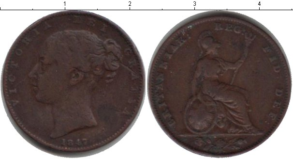 Картинка Монеты Великобритания 1 фартинг Медь 1847