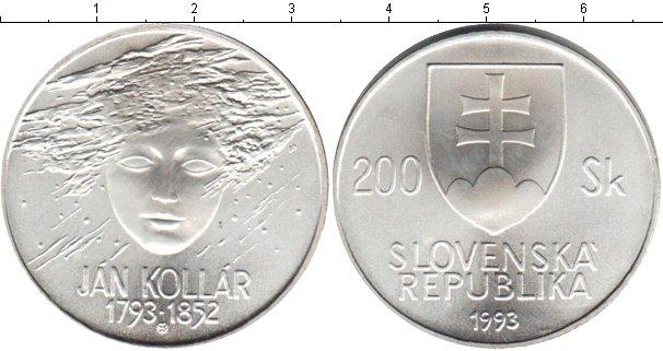 Картинка Монеты Словакия 200 крон Серебро 1993