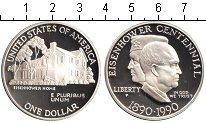 Изображение Мелочь США 1 доллар 1990 Серебро Proof