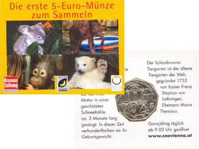 Изображение Подарочные монеты Австрия 5 евро 2002 Серебро UNC Монета посвящена 250
