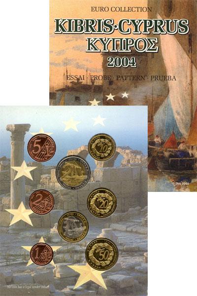 Изображение Подарочные наборы Кипр Евронабор 2004 года 2004  Proof- Евронабор состоит из