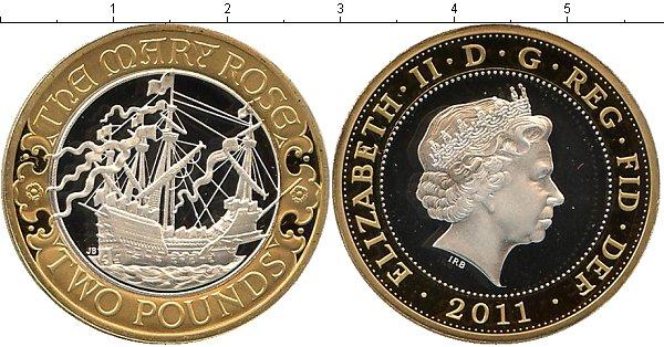 Картинка Подарочные монеты Великобритания `Парусник ``Мэри Роуз``` Биметалл 2011