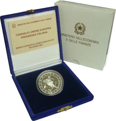 Изображение Подарочные монеты Италия Председательство Италии в Евросоюзе 2003 Серебро Proof
