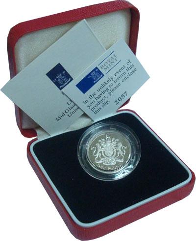 Изображение Монеты Великобритания 1 фунт 1993 Серебро Proof Подарочный набор сос