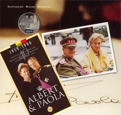 Изображение Подарочные монеты Бельгия 40-летие бракосочетания Альберта и Паолы 1999 Серебро UNC