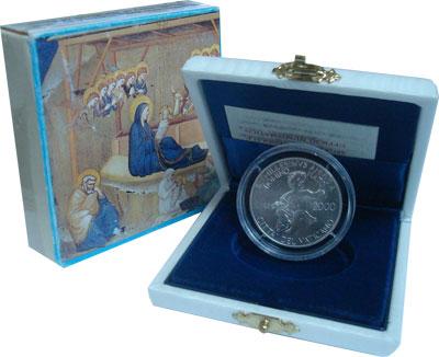 Изображение Подарочные монеты Ватикан 2.000-ый День рождения Иисуса 2000 Серебро UNC Монета Ватикана дост