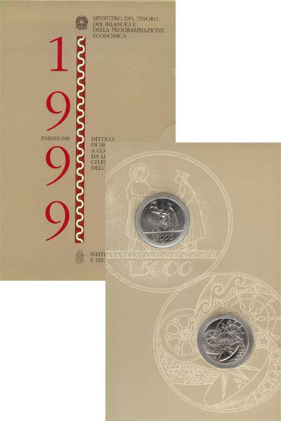 Изображение Подарочные монеты Италия Новое тысячелетие 1999 Серебро UNC Подарочный набор, со