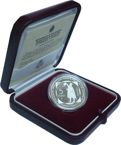 Изображение Подарочные монеты Сан-Марино 500-летие со дня рождения Америго Веспуччи 2012 Серебро Proof- Монета 5 евро выпуще