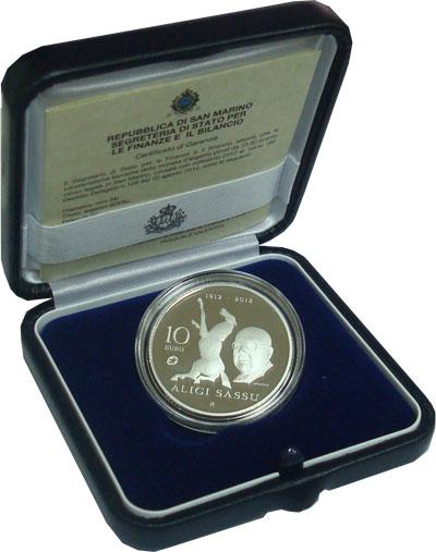 Изображение Подарочные монеты Сан-Марино Алиджи Сассу- итальянский скульптор 2012 Серебро Proof Подарочная монета по