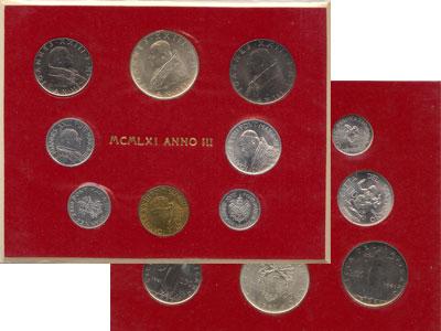 Изображение Подарочные монеты Ватикан Выпуск 1961 года 1961  UNC- В наборе 8 монет: 1