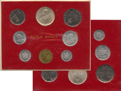 Изображение Подарочные монеты Ватикан Выпуск 1960 года 1960  UNC-