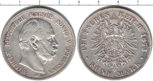 Картинка Монеты Пруссия 5 марок Серебро 1875
