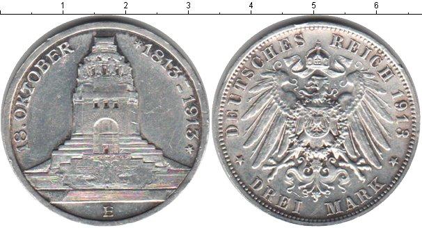 Картинка Монеты Саксония 3 марки Серебро 1913