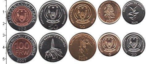 Изображение Наборы монет Руанда Руанда 2003-2007 0  UNC- В наборе 5 монет ном