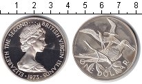 Изображение Монеты Виргинские острова 1 доллар 1973 Серебро Proof- Елизавета II.