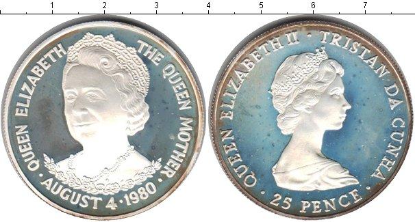 Картинка Монеты Тристан-да-Кунья 25 пенсов Серебро 1980