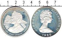 Изображение Монеты Гибралтар 1 крона 1980 Серебро Proof- Елизавета II. 80-ти