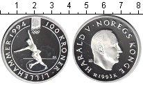 Изображение Монеты Норвегия 100 крон 1993 Серебро Proof Зимняя олимпиада 199