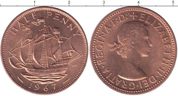 Картинка Мелочь Великобритания 1/2 пенни Медь 1967