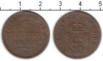 Изображение Монеты Пруссия 3 пфеннига 1866 Медь VF
