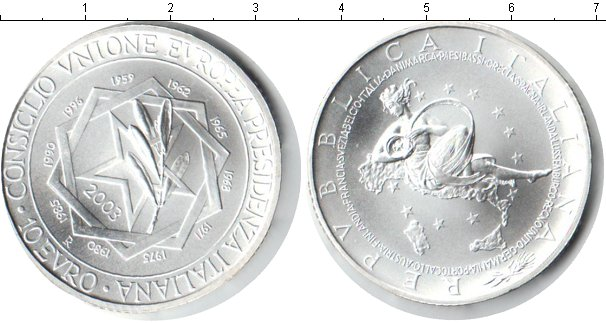 Картинка Монеты Италия 10 евро Серебро 2003