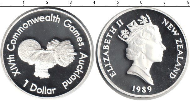 Картинка Монеты Новая Зеландия 1 доллар Серебро 1989