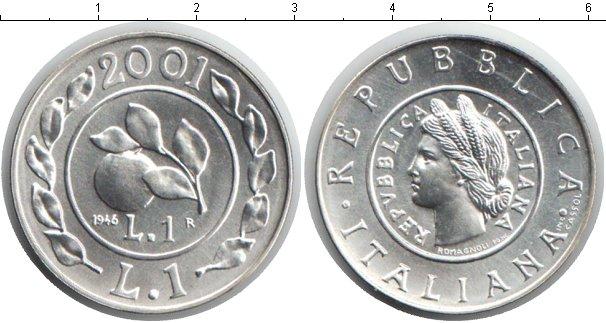Картинка Монеты Италия 1 лира Серебро 2001