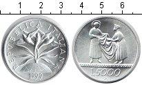 Изображение Монеты Италия 5.000 лир 1999 Серебро UNC 1999 год